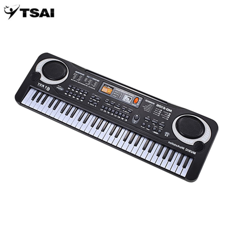 TSAI 61 Keys Electronic Music Keyboard Electric Organ With Microphone Children Musical Instrument Early Educational Tool For Kid все цены