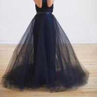 Fashion Three Layers Tulle Skirt Dark Blue Floor Length Girl Skirt High Quality Long Tutu Girl