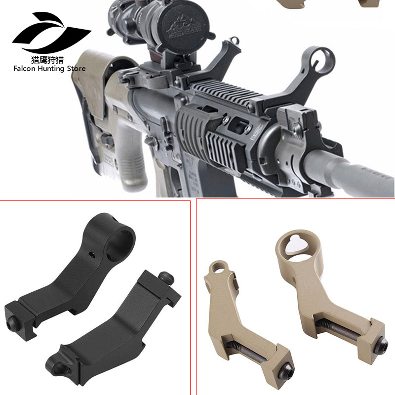 US $20 96 10% OFF Tactical Hunting Airsoft Handguard 45 Degree Angle Offset  Side Backup Iron Sight Front Rear Sight Set fit 20mm Picatinny Rail-in