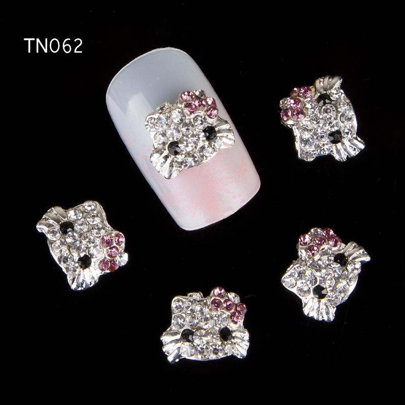 10pcs Glitter Kitty cat Rhinestones 3d Nail Art Decorations, Alloy Nail Sticker Charms Jewelry for Nail Gel/Polish Tools TN062