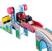 Wooden Luxury Suspension Bridge Railway Pack Fit Thomas And Brio Wooden Train Educational Boy Kids Toy