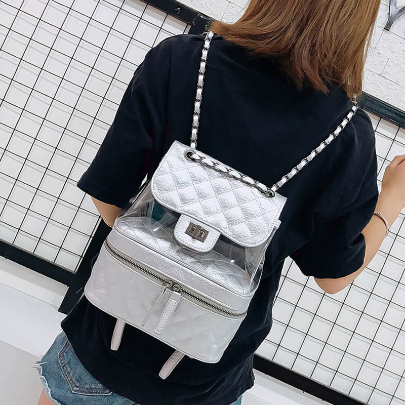e7e0bbbd08c Famous Brand 2019 Designer Leather Backpacks Luxury Transparent Bag Large  Quilted Plaid Women Backpack Girl Cute Mochila Student-in Backpacks from  Luggage ...