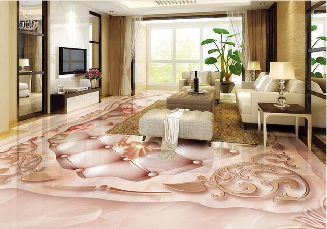 Custom Waterproof Wallpaper For Bathroom 3d Floor Tiles Stone Marble Mosaic  Pattern 3d
