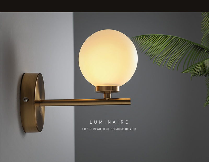 Nordic Modern Brief Fashion Personally Round Glass Led Wall Sconce ...