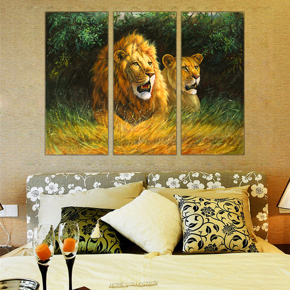∞Hot Modern Canvas Painting Animal Lion Oil Painting Poster and ...