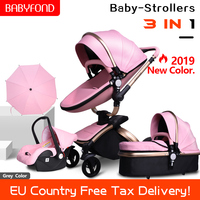 Brand baby strollers 3 in 1 high quality PU leather baby carriage Eco friend strong light baby pram 0 4 years newborn gifts