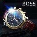 БОСС Германии часы мужчины люксовый бренд Швейцария импорт кварцевый механизм Ronda многофункциональный мужская кожаный ремень relogio masculino