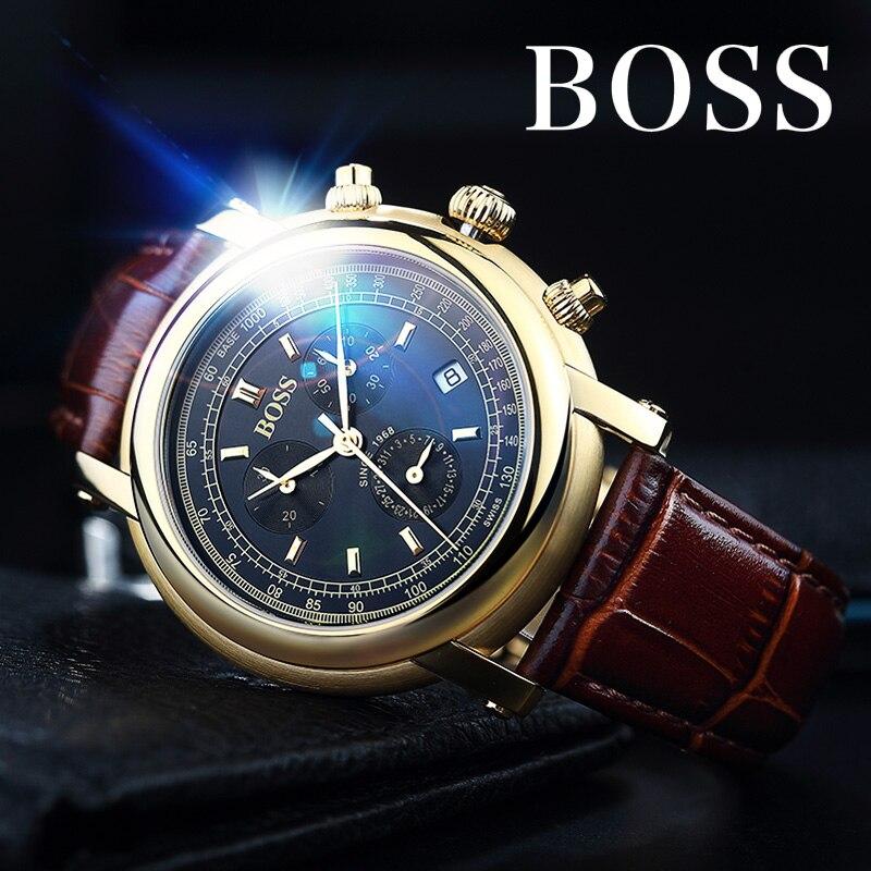 BOSS Germany watches men luxury brand Switzerland import Ronda quartz movement multifunction mens leather belt relogio masculino