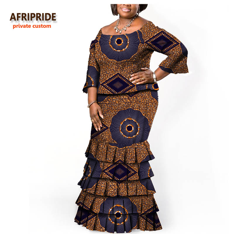 19 AFRIPRIDE Autumn African Women Two-pieces Suit  Half Sleeves Top+overlapping Pleated Floor Length Skirt African Style A722610