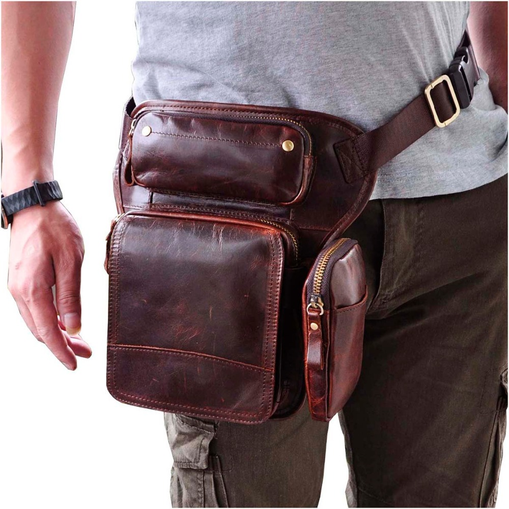 Hot Sale Crazy Horse Real Leather Design men vintage Cool Small Belt Messenger Bag Waist Pack Drop Leg Bag Pouch 3108