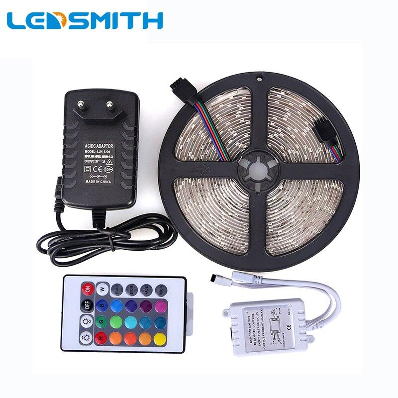 Водонепроницаемый LED RGB полосы света SMD3528 IP65 fiexble свет 60led/M 5 м и DC12V 2A  ...