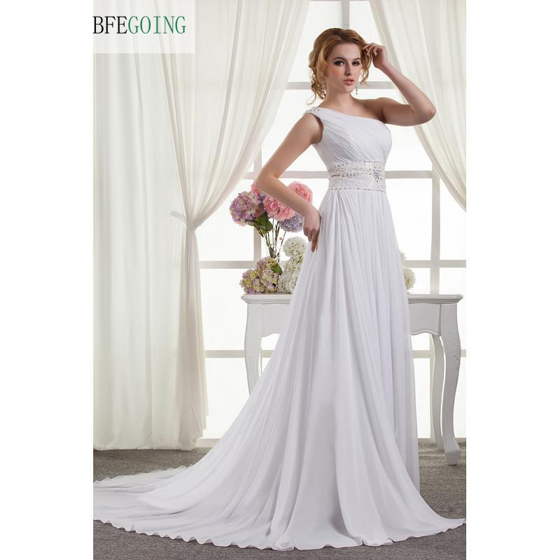 White Chiffon  Beading  One-Shoulder Sleeveless  A-line Floor-Length  Wedding Dress  Chapel Train Lace Up