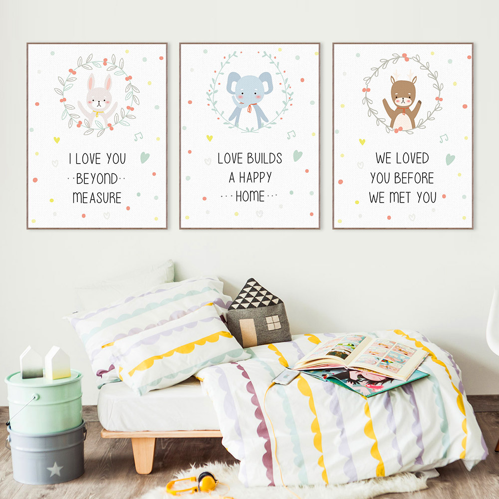 cartoon kawaii animals elephant bear quote canvas art print poster wall picture kids baby room decor painting no frame