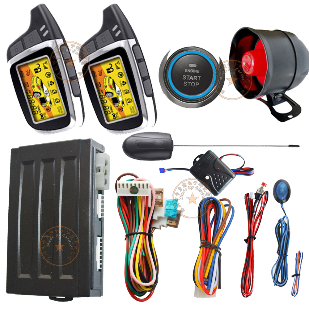 ignition start stop button auto 2 way security car alarm system remote keyless entry central lock unlock car door remote start auto smart car alarm hopping code car security system auto lock or unlock passive keyless entry push button start stop car