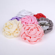 "60 pcs/lot, 3.15 ""Rolled Satin Mawar Bunga bros Klip & Pin, Satin bunga bros rambut klip(China)"