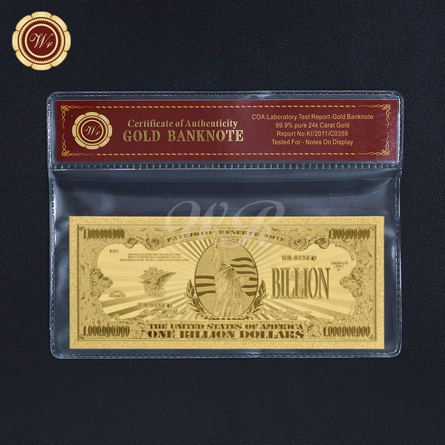 Us Dollar Gold Banknote One Billion Bill 24k Gold Foil Note In Coa Sleeve Collectible Gift