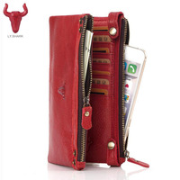 Womens Wallets Genuine Cow Leather Wallet Ladies Purses Zipper Coin Card Hold Long Wallet Female Clutch