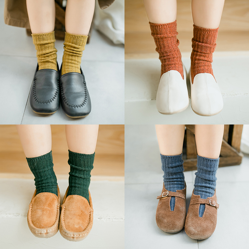 New Fall Winter Baby Boy Girls Long Socks Fashion Kids Toddler Girl Wool Short Socks Solid Color