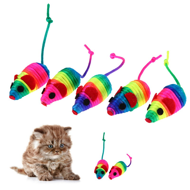 5 Pcs Fleece False Mouse 10 Cm  Cat Toys Colorful Feather Funny Playing Toys For Cats Kitten