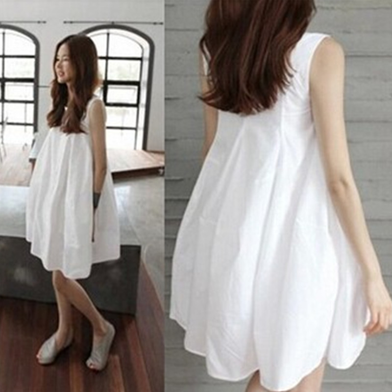 White Color Maternity Clothing 2019 Summer New Fashion Sleeveless Vest Dress For Pregnant Women Loose Pregnancy Clothes Dresses