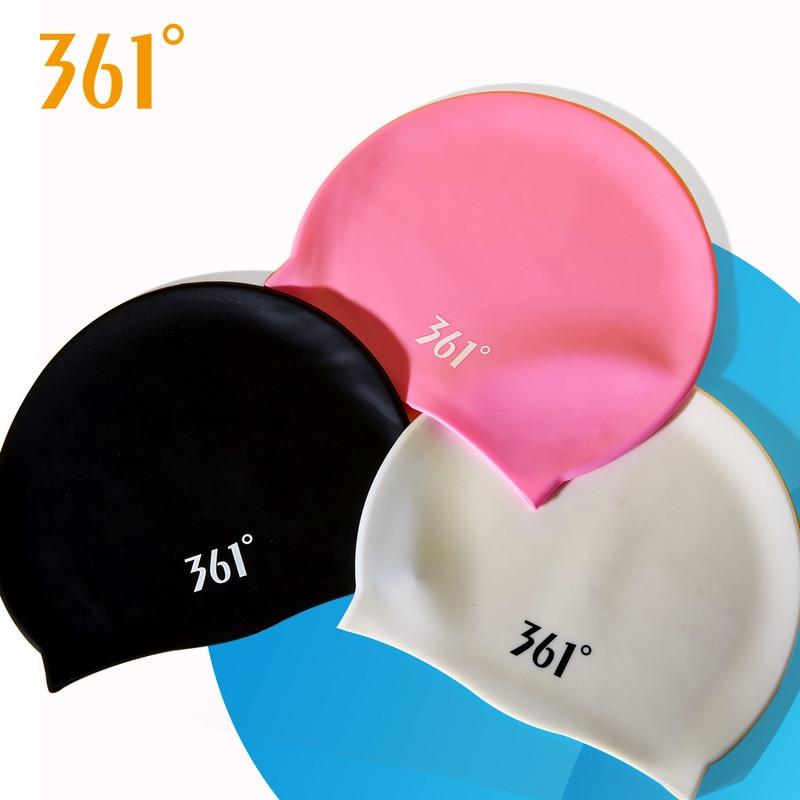 361 Men's Black Waterproof Swimming Cap Pools Professional Sport Swim Cap Women Silicone Swim Caps Pink Long Hair Ear Protection