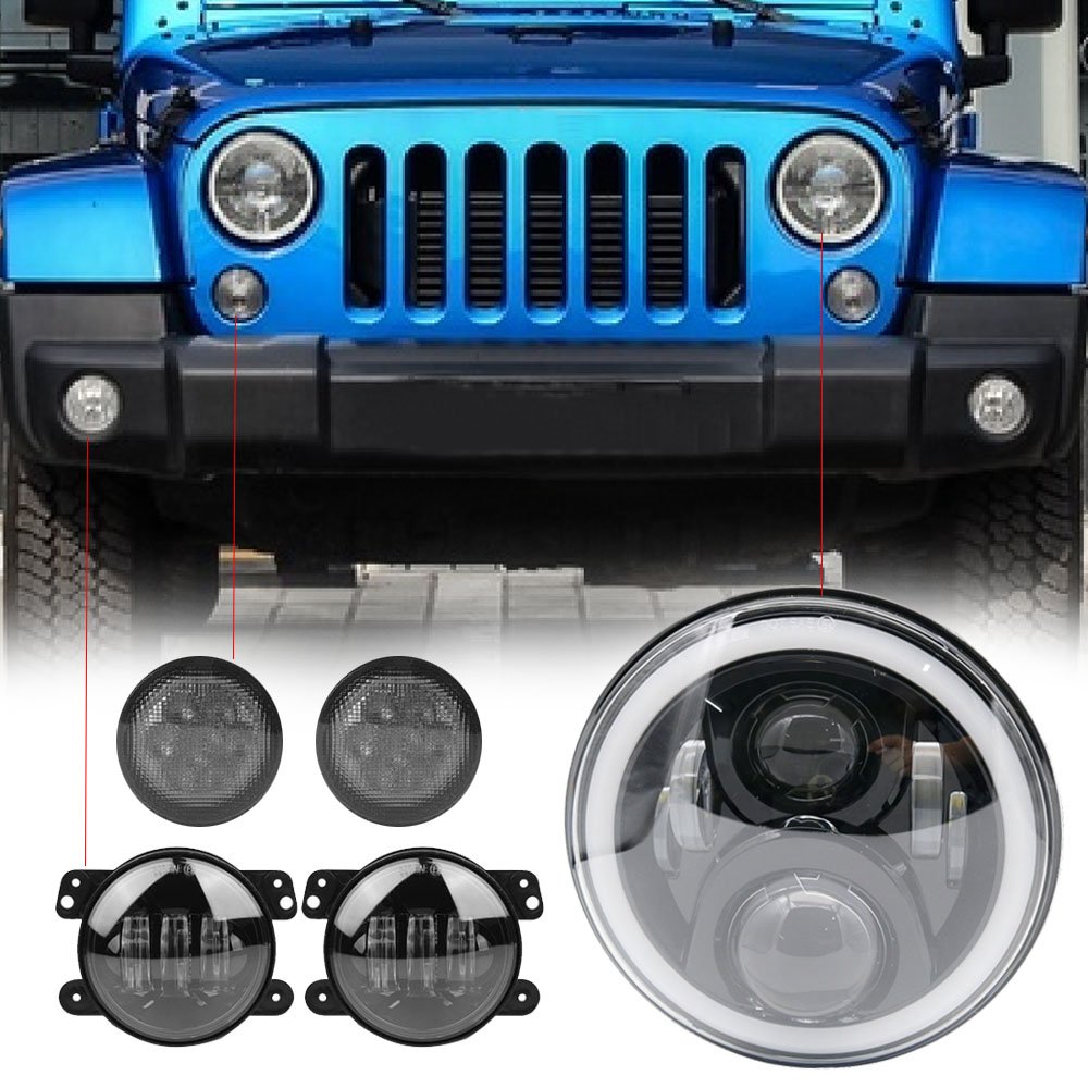 For Jeep Wrangler JK 7 Inch LED Headlights High Low Beam Angel Eye DRL Smoke Turn Signal Light With 4 Fog Passing Light 4pcs black led front fender flares turn signal light car led side marker lamp for jeep wrangler jk 2007 2015 amber accessories