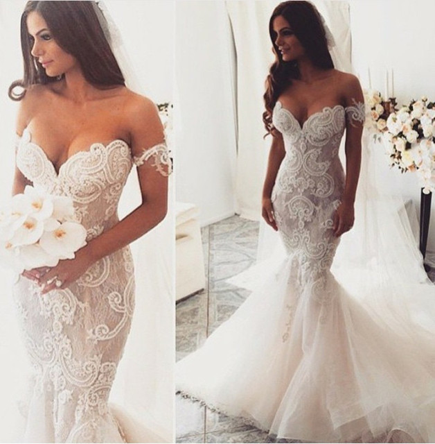 Vintage Mermaid Sexy Off Shoulder vestido de noiva Sheer Lace With Train 2018 Brides bridal Gown mother of the bride dresses