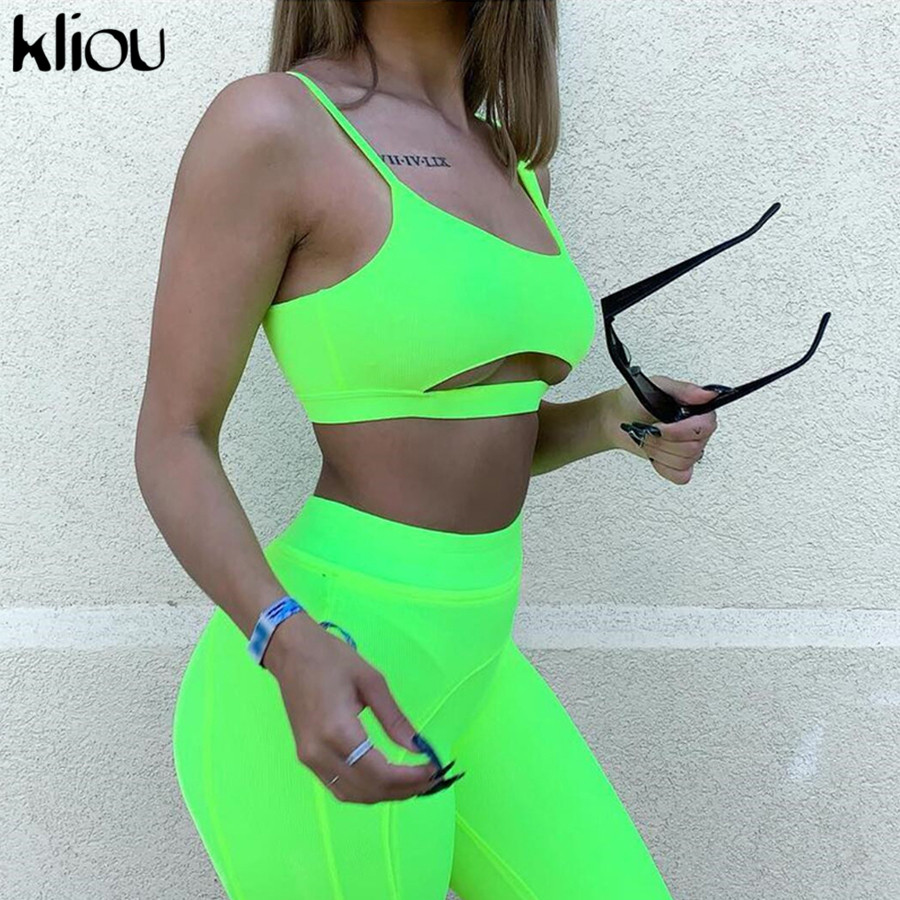 Kliou 2019 Summer Two Pieces Set Neon Green Outfits Fitness Sexy Strapless Hollow Out Crop Top Elastic Skinny Shorts Tracksuit