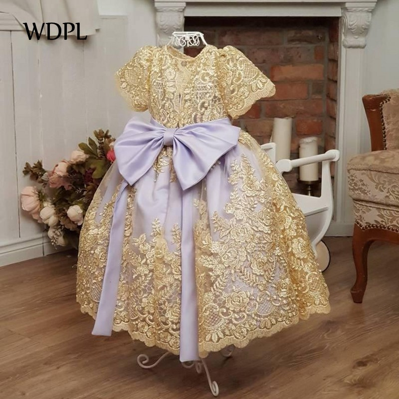 vestidos de comunion   Flower     Girl     Dresses   For Wedding Lace Appliques Gold   Girls   Pageant Gowns Baby Birthday Party   Dress   Cheap
