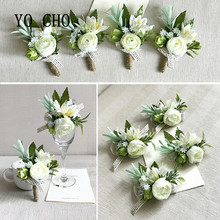 YO CHO High-end Noble White Series Artificial Corsage Wrist Flowers Bridesmaid Sisters Hand Flower Bestman Wedding Decor