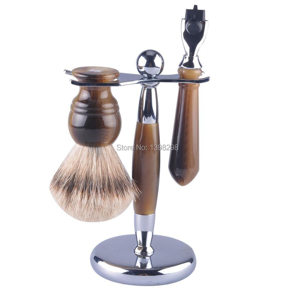 hottest retail shaving brush kit shaving brush razor stand faux horn handle salon shaving brush set badger hair shaving tools mens badger shaving brush stand razor holder and double head safety straight razor
