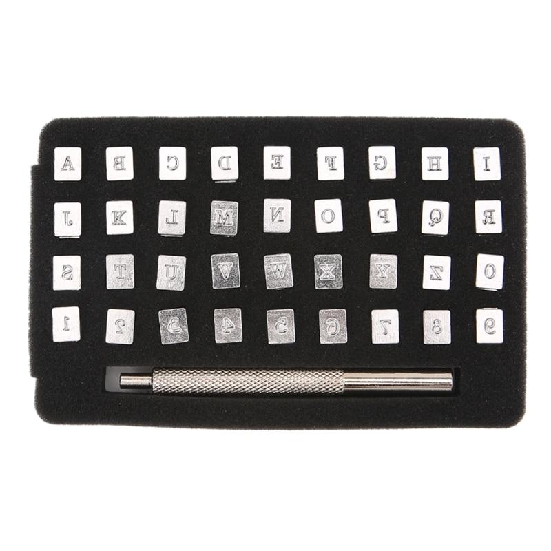 36 piezas de acero alfabeto Número de estampa juego de punzón para manualidades de cuero sellos herramientas arte fácil diversión DU