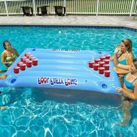 Hot Selling 24 Cup Holder Inflatable Beer Pong Table Pool Float Summer Water Party Fun Air Mattress Ice Bucket Cooler