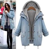 Vogue Plus Size 6XL Denim Jacket Coat Women Harajuku Jackets Female Two Piece Set Coat Jacket