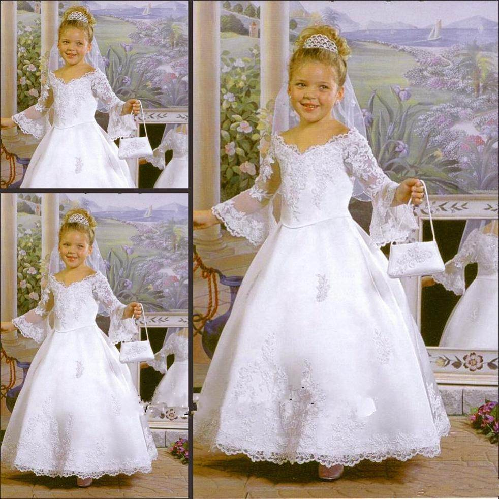 Vintage   Flower     Girls     Dresses   For Wedding Lace Long Sleeves A Line White V Neck Lace   Flower     Girl     Dress   First Communion   Dresses