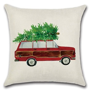 Image 3 - 2 قطعة الأحمر الأصفر سيارة حافلة تحمل عيد الميلاد شجرة وسادة غطاء وسادة حالة المنزل الزخرفية غطاء الوسادة