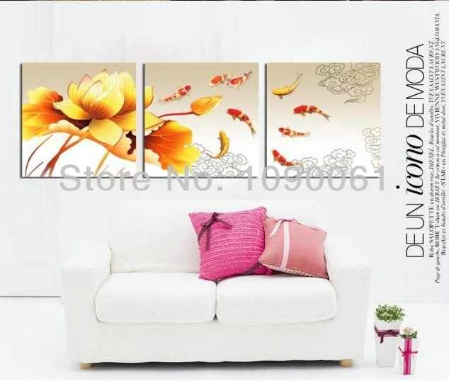 Hand Painted Abstract Goldfish Paintings Lotus Flower Modern Canvas