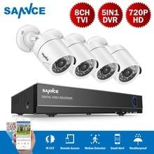 SANNCE 8CH система видеонаблюдения P 8CH 720 P DVR 4 шт. 1.0MP IR Всепогодная наружная камера видеонаблюдения 1280TVL домашняя система безопасности комплект видеонаблюдения