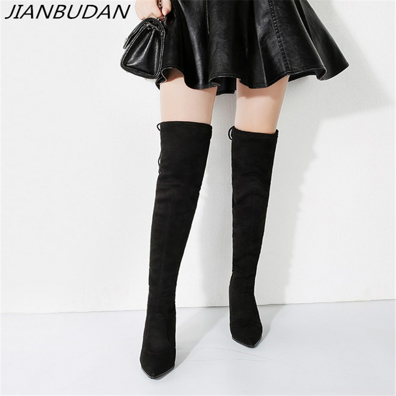 JIANBUDAN/ High heel sexy thigh high boots Women's 2019 new Flock autumn stretch boots Over the knee lace up Thigh boots