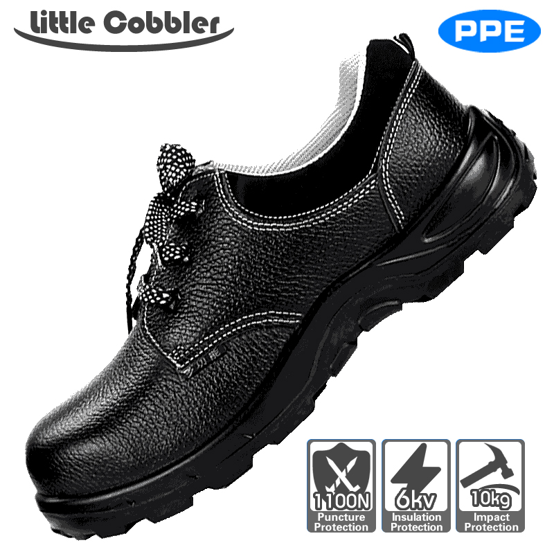 Little Cobbler Safety Shoes Men Steel Toe Safety Shoes Anti-puncture Antistatic Protective Footwear Comfortable Breathe Freely mulinsen breathe shoes men