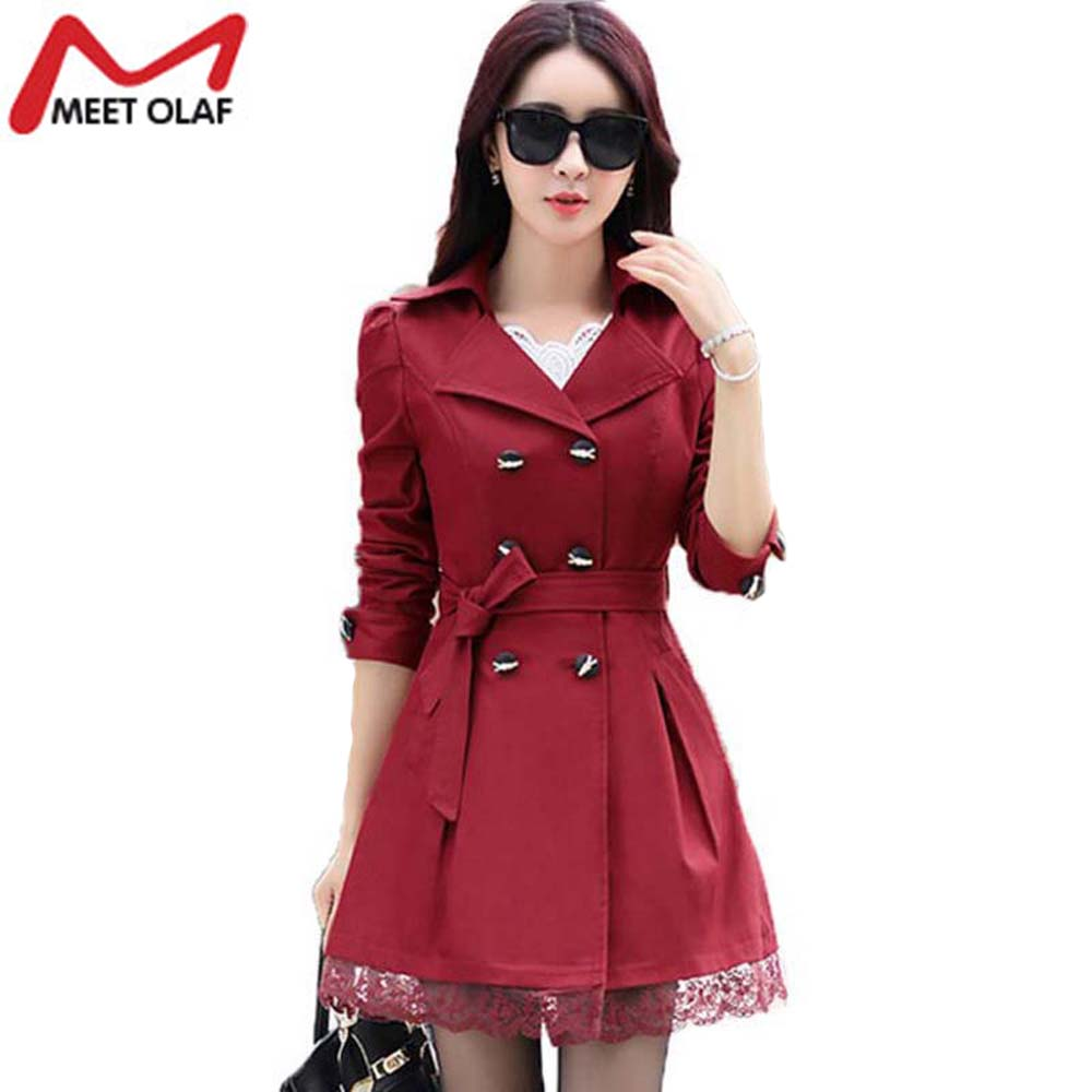 2017 Women Trench Coat Lace Slim Double Breasted Trenchcoat Especially Female Casual Windbreaker Outwear Raincoat Plus