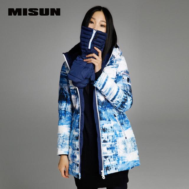 MISUN 2017 chaqueta de invierno mujeres desmontable delgada guantes de impresión con una capucha medio-largo YKK zipper sashes señoras prendas de vestir exteriores abajo de la capa