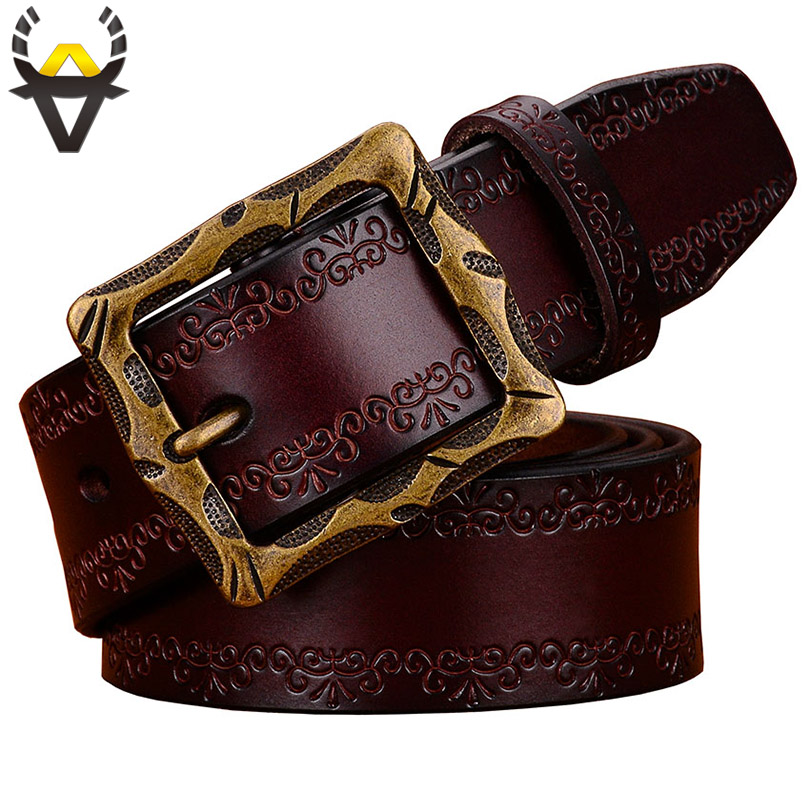 Fashion Designer Genuine Leather Belts For Men High Quality Vintage Pin Buckle Man Belt Second Layer Cow Skin Waist Strap Brown