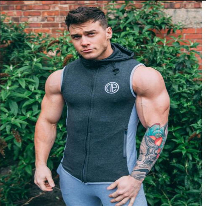 2018 Summer Mens Bodybuilding Hoodies Fitness Clothes Hoody Cotton Hoodie Men Sweatshirts Men's Sleeveless   Tank     Tops   Casual Vest