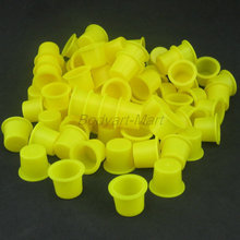 100PCS Large Size 15mm Yellow Plastic Tattoo Ink Cap Cups Supply YIC15-100