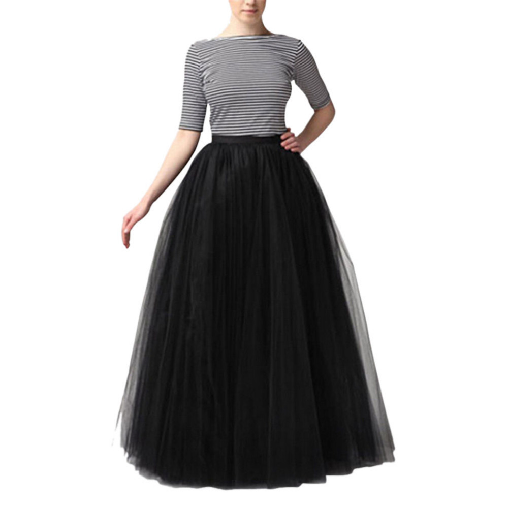 Women Maxi Long Skirt 3 Layers Shirt Mesh Pleated Women Ball Gown Flared Tutu Tulle Skirts 90cm