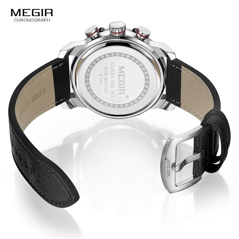 Image 5 - Мужские кварцевые часы MEGIR, водонепроницаемые часы с кожаным ремешком, модные наручные часы с секундомером, светящиеся стрелы 2079GBK 1Спортивные часы   -