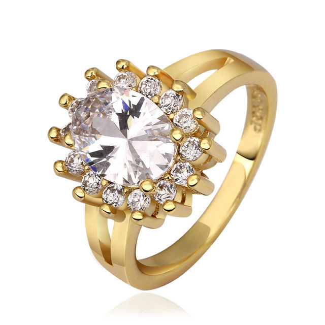 RoseYellow Gold Color Ring Set For Women Crystal Zirconia Wedding