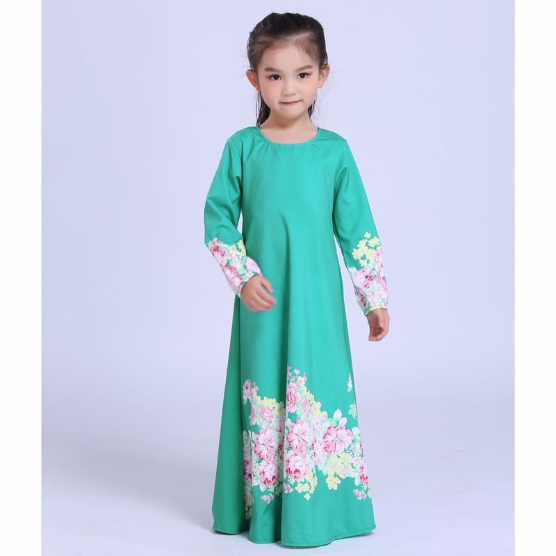 купить High Quality Muslim Abaya Girls Dress Islamic Clothing for Kids Arab Dubai Traditional Dress Malaysia Kids New Year Dress по цене 1798.86 рублей