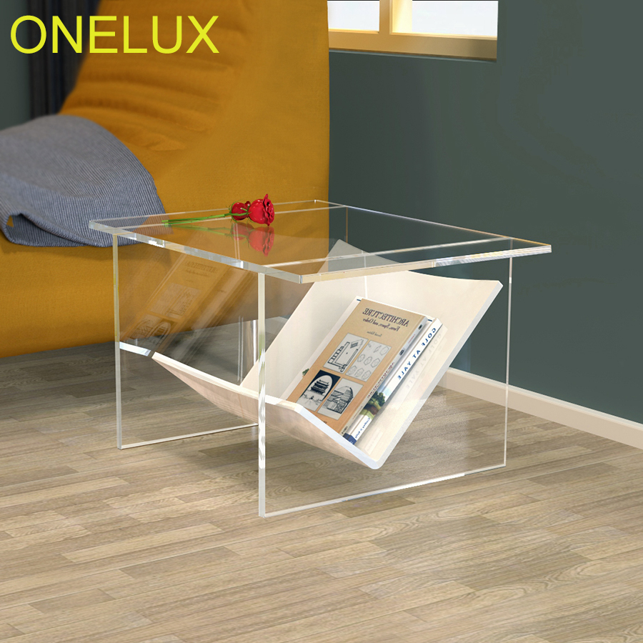 Acrylic Coffee Table With Magazine Rack,Clear Lucite Side Tea Table With Additional Shelf coffee table